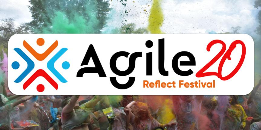 The Logo of the Agile20Reflect Festival on a picture of an Actual Festival
