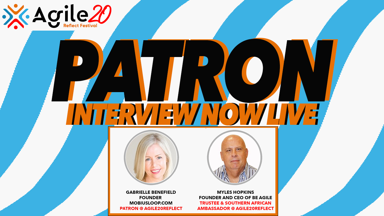 Patron Interview Now Live, Striped Background, Logo Featured