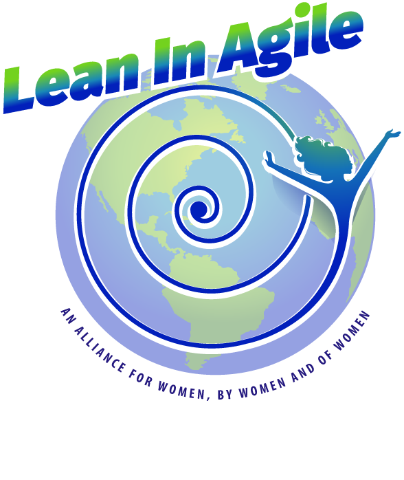 Image of world with spiral forming image of woman and text of Lean In Agile an Alliance for Women by Women and of Women