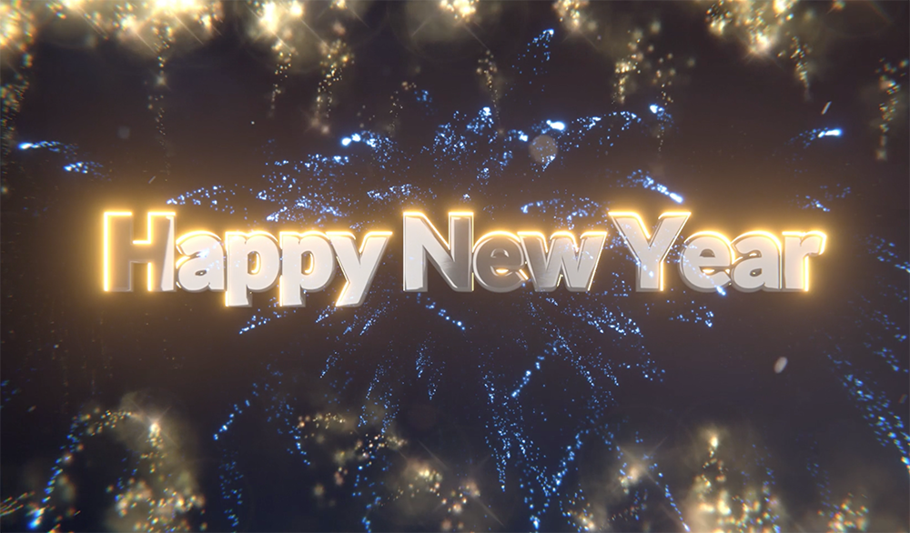 Fireworks display with Agile20Reflect Festival logo appearing and text Happy New Year